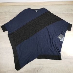 Vera Wang Blue and Black Poncho With Sleeves